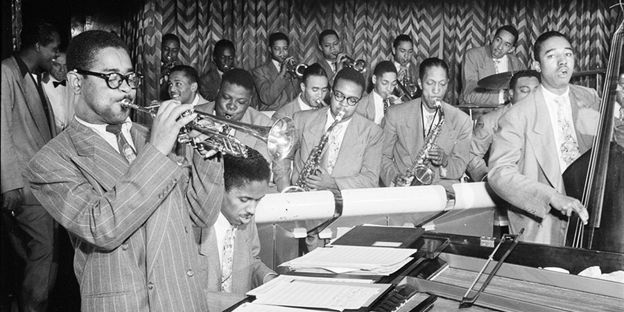 Image credit Portrait of Dizzy Gillespie John Lewis Cecil Payne Miles Davis and Ray Brown detail by William P Gottlieb 1946-1948 Downbeat New York City New York