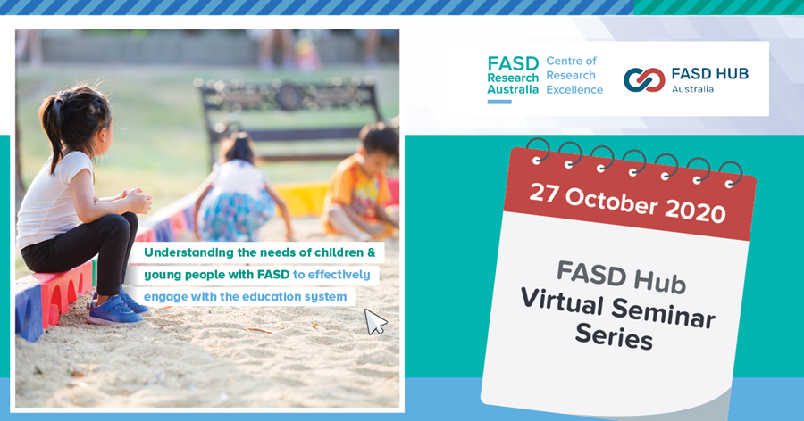 Promotional graphic for FASD Hub virtual seminar #2: Education