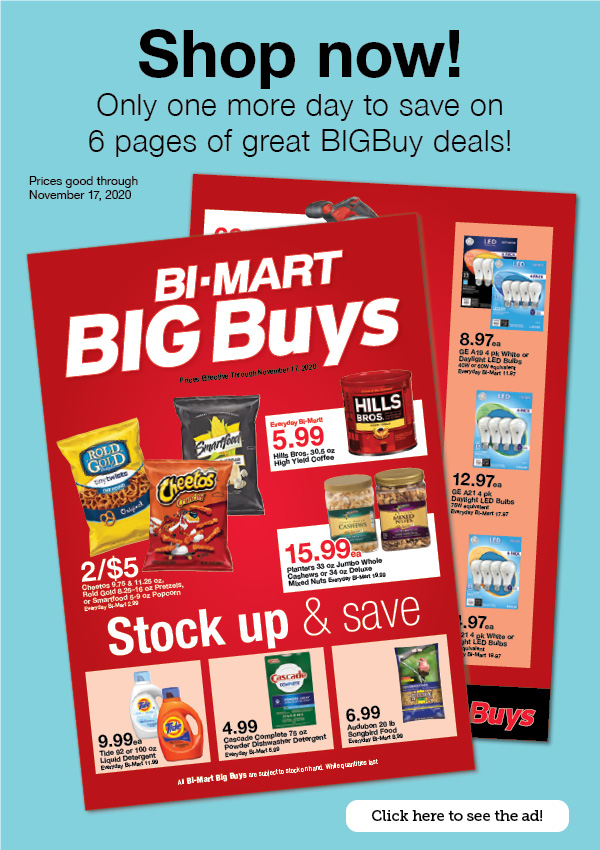Shop now! Only one more day to save on 6 pages of great BIGBuy deals!
