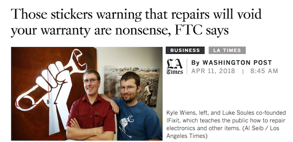 FTC says stickers warning that repairs will void your warranty are illegal—LA Times