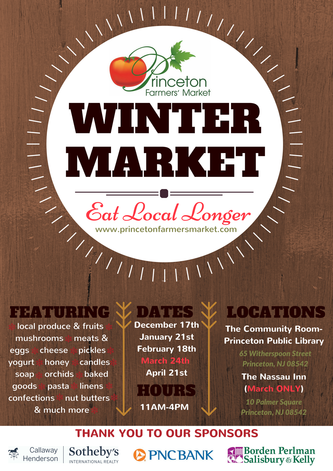 Winter Market Dates & Vendors ~ Princeton Farmers' Market
