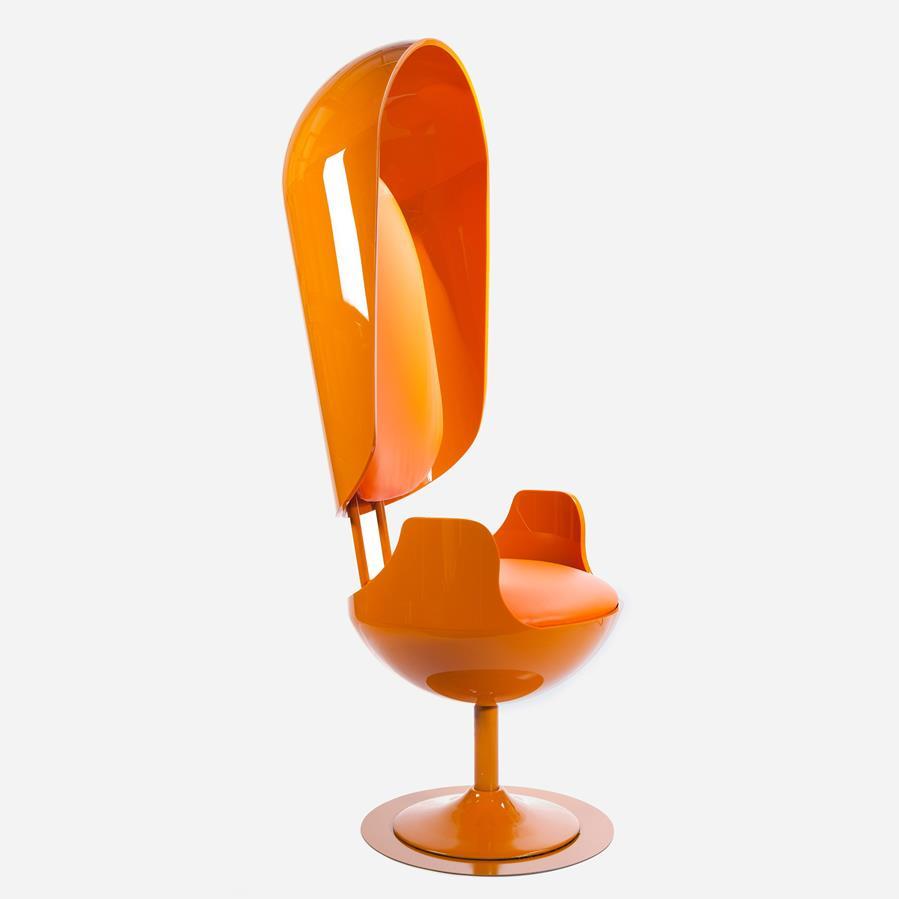 "Merel Bekking reveals ""scientifically perfect"" orange swivel chair for Dezeen's Marcus Fairs"