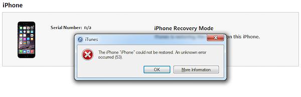 Error 53 warning on iTunes