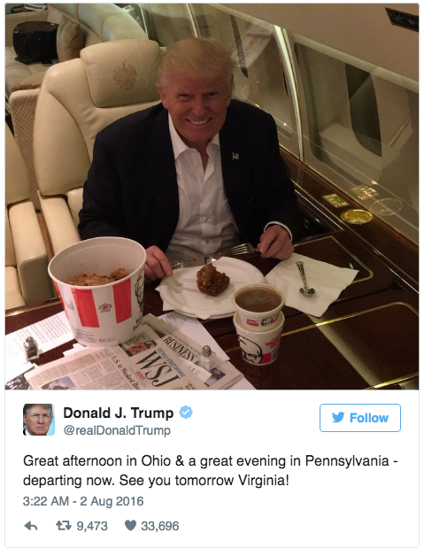 In other news, Trump eats his fried chicken with fork and knife.