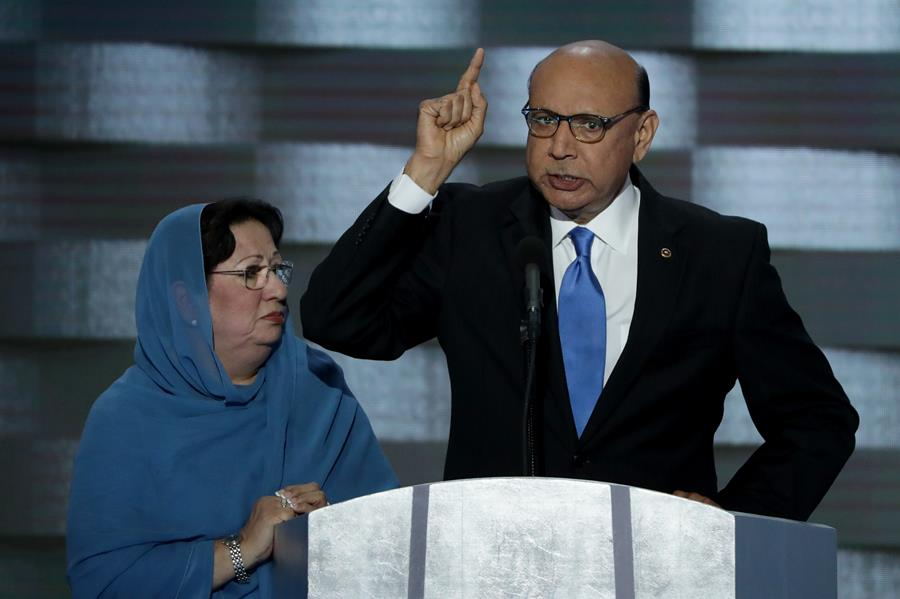 Khizr Khan and his wife, Ghazala, at the Democratic National Convention last week.