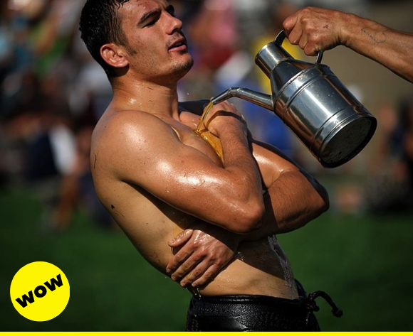 Is there such a thing as too much lube? Not when you're a Turkish oil wrestler, that's for sure!