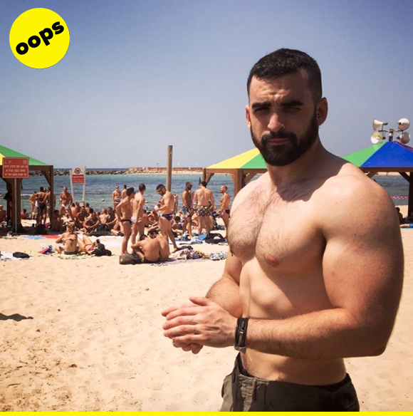 Aitor's positively bursting (and bulging) with excitement, but he's arrived at the beach with nothing to wear! :///