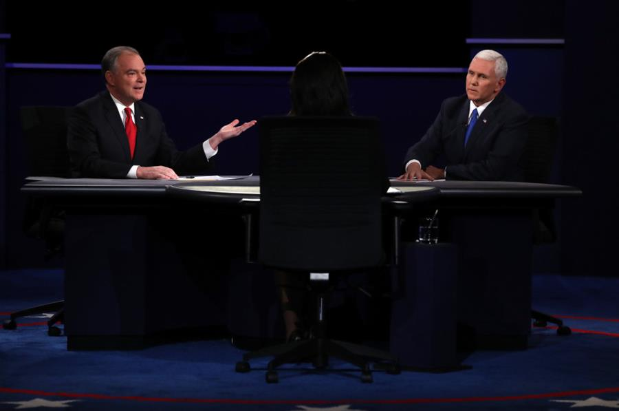 Democratic vice presidential nominee Tim Kaine (left) and Republican vice presidential nominee Mike Pence at Longwood University on Tuesday night.
