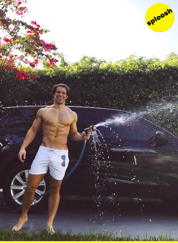This stud's splooshing sudsy goodness all over the place and we're not even mad about it.