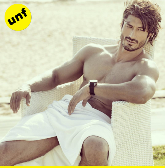 Vidyut's sitting here in just a towel, leaving us breathless (and himself very nearly exposed!)