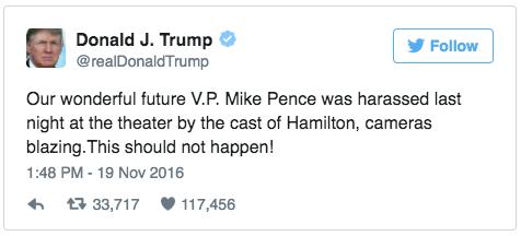 """Trump tweeted Pence was """"harassed."""""""
